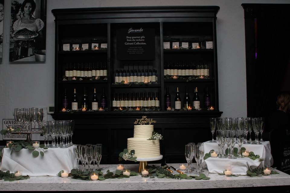 Dessert and prosecco display