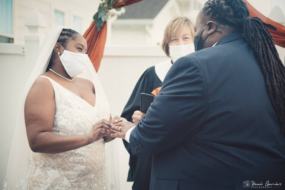 Bride staring at the Groom