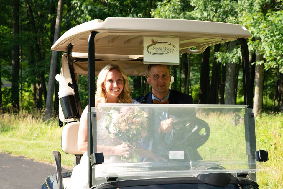 Bride and Groom golf cart