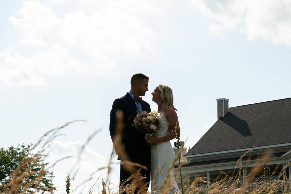 Bride and Groom grass