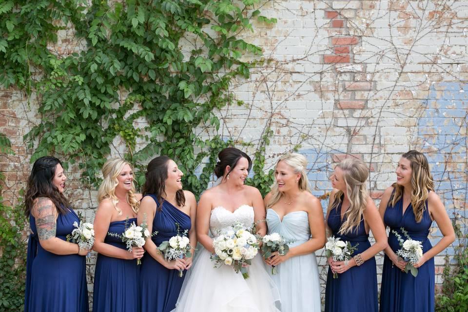 Bride, maid of honor, and bridesmaids