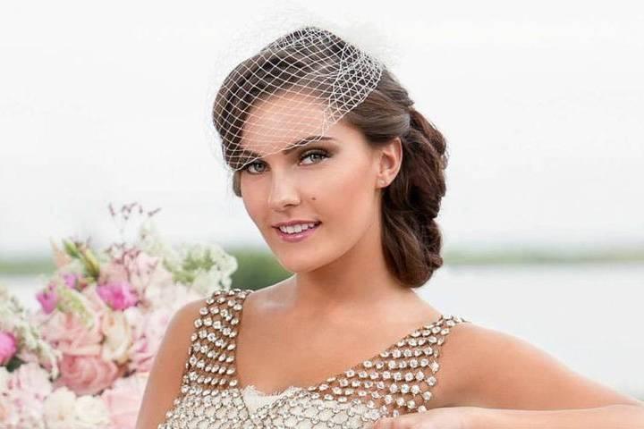 Bride with a birdcage veil