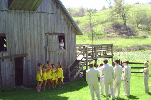 Wedding party doing a photo shoot at our dance barn.
