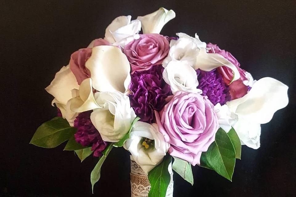 Purple Rose and White Calla