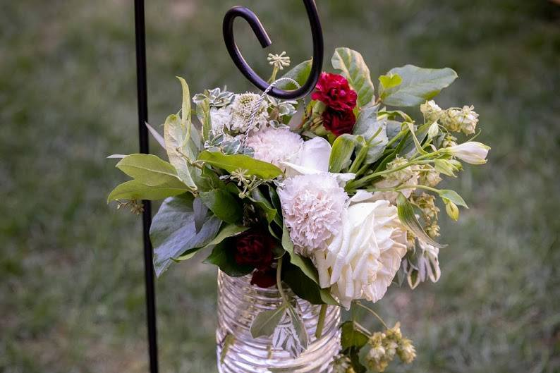 Aisle lined flowers