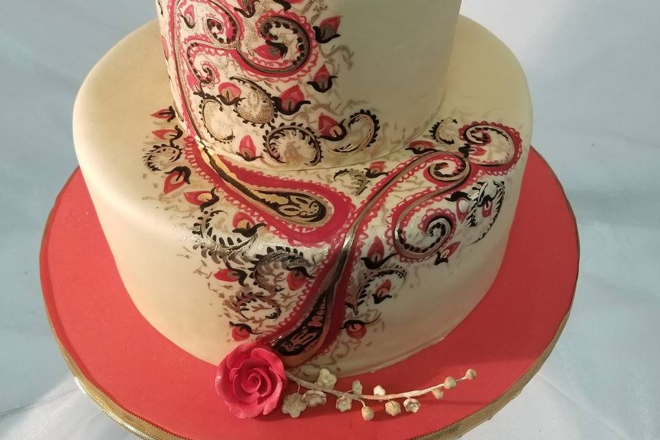 Hand painted henna cake