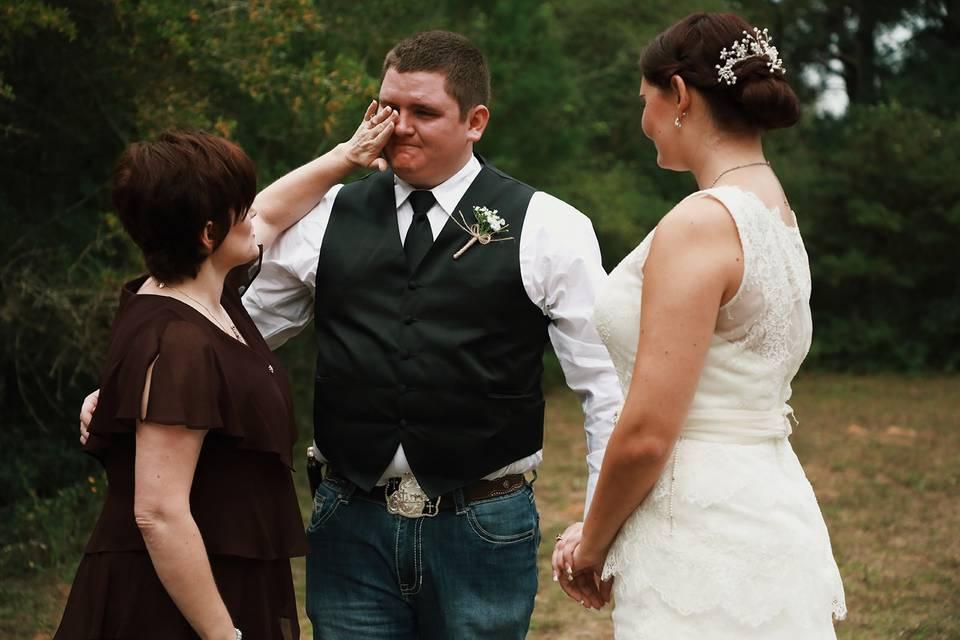 Teary-eyed groom