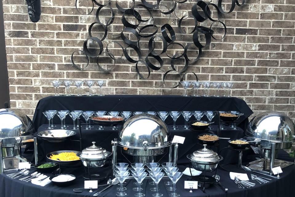 Outdoor reception set up.