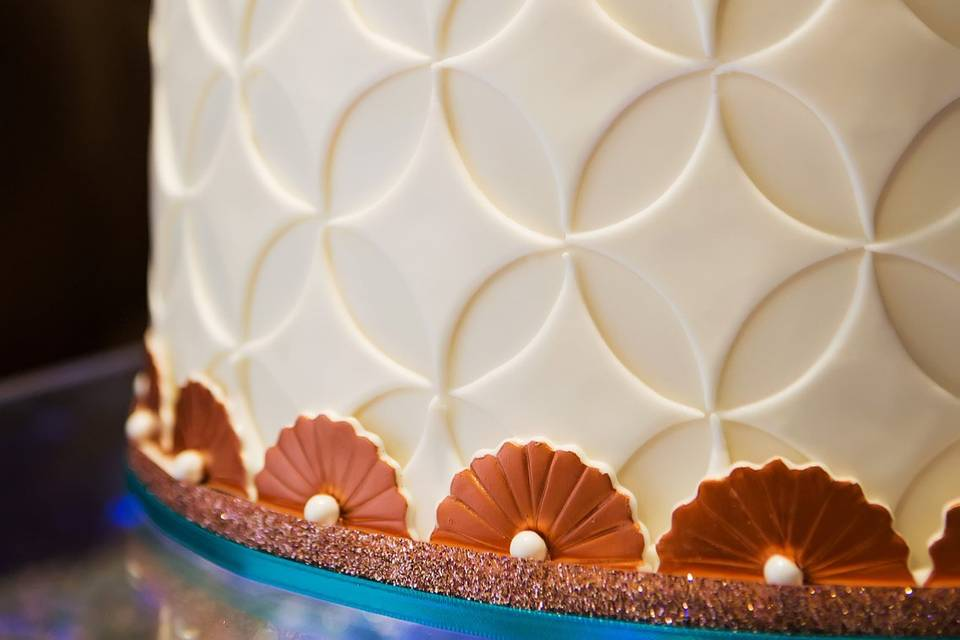 Intricate details of the wedding cake design