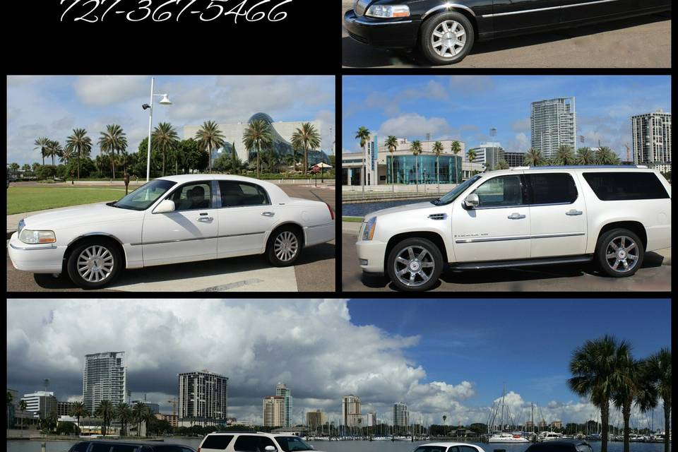 Choose your ride from a Stretch, SUV or Lincoln Towncar