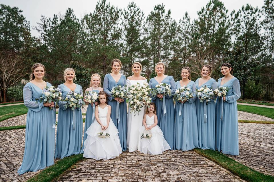 Matching gowns for bridesmaids