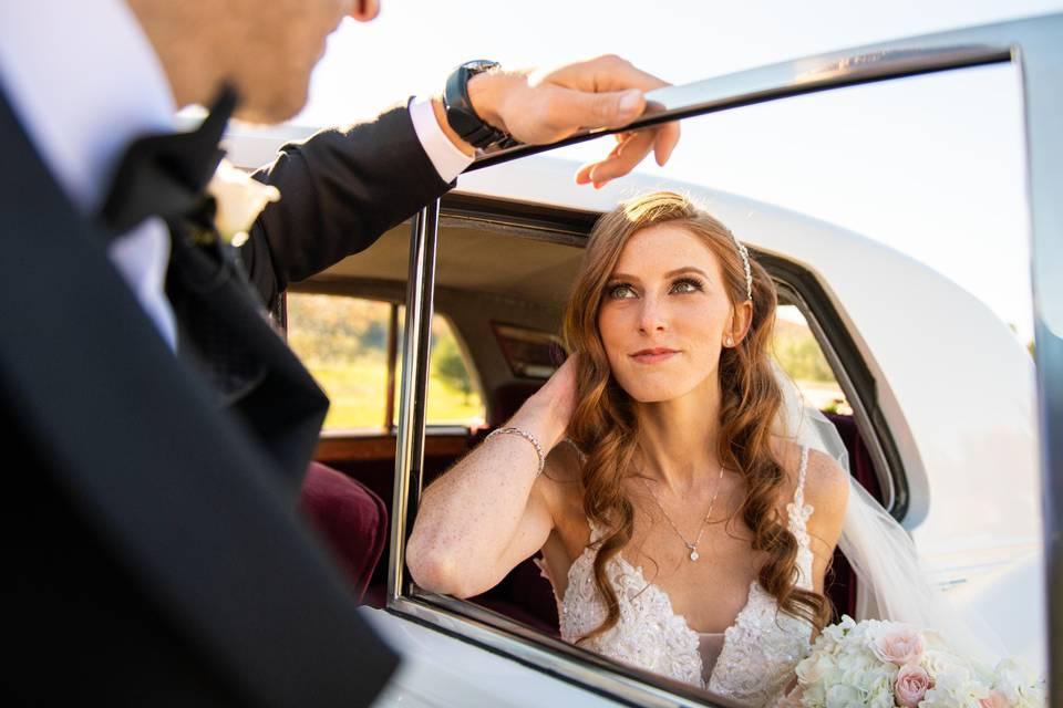 Looking through a car door