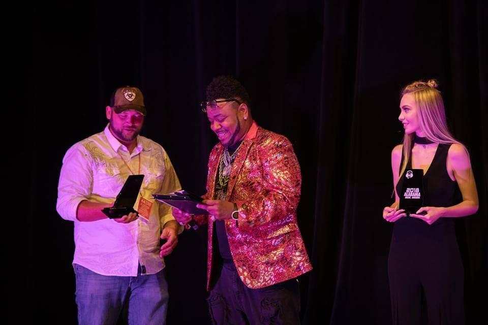 Musician accepting award
