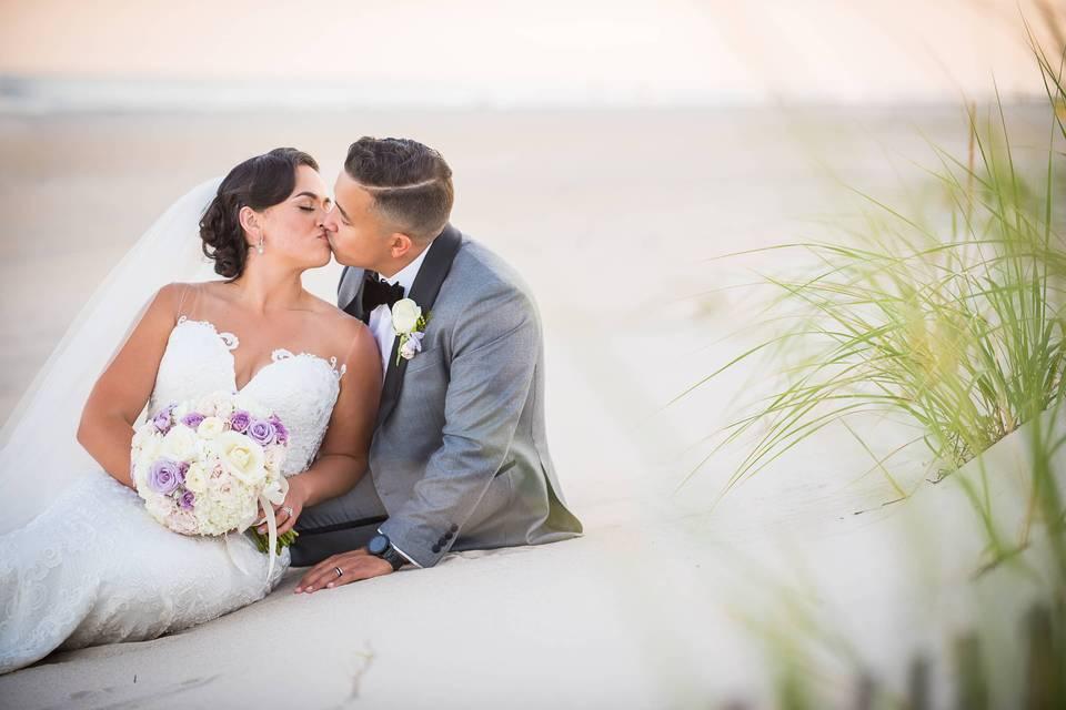 Wedding beach photos at sunset