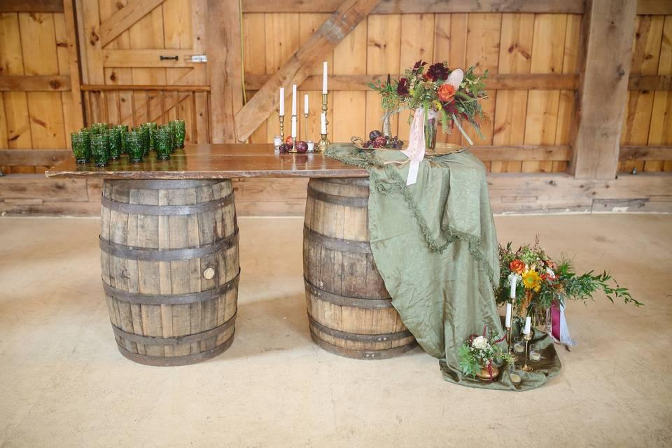 Wine barrel bar top