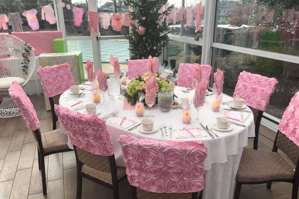 Table adorned with party favor
