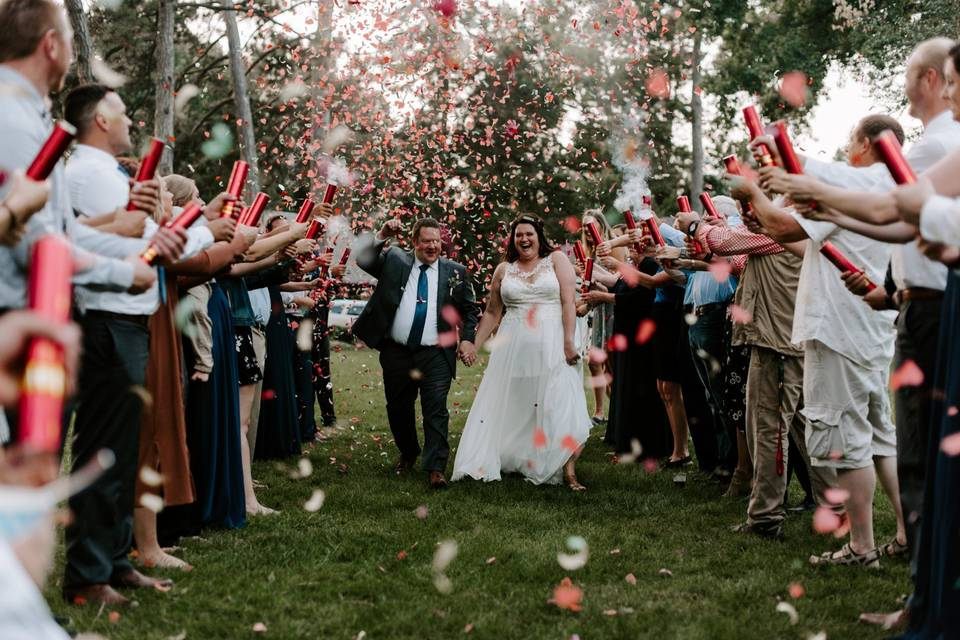 Laughing under confetti