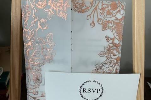 Rose Gold foil on vellum wrap