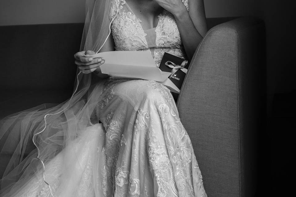 Bride moment reading letter
