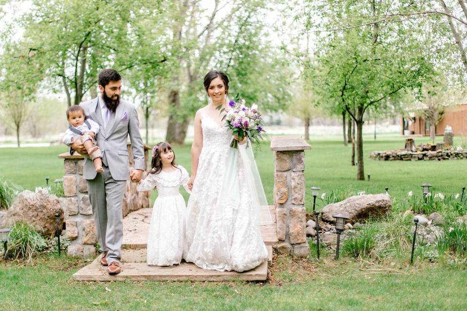 Couple and flower girl