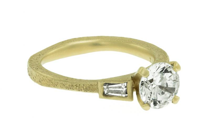 Engagement ring with baguettes