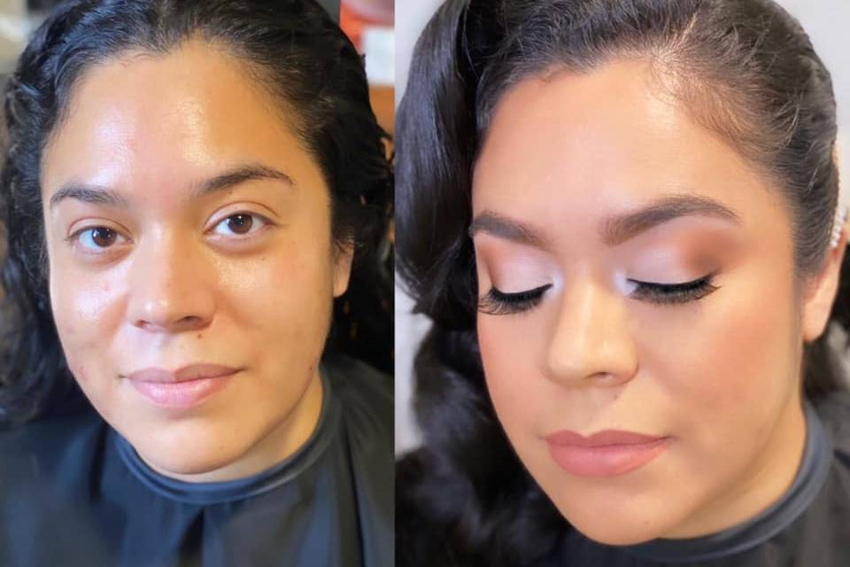 Before and after bridal makeup