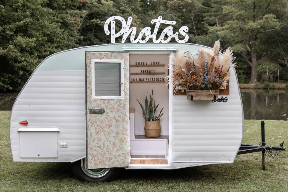 Vintage photo booth camper