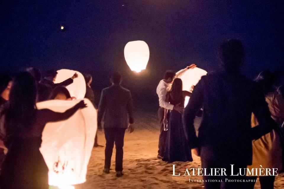 Wish lanterns being released