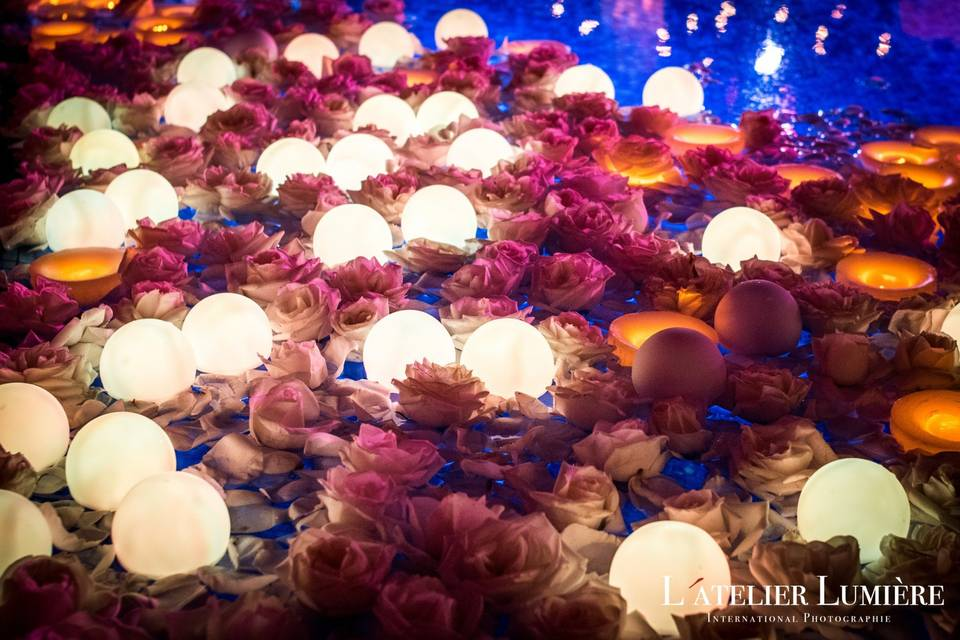 LED floating candles in a pool