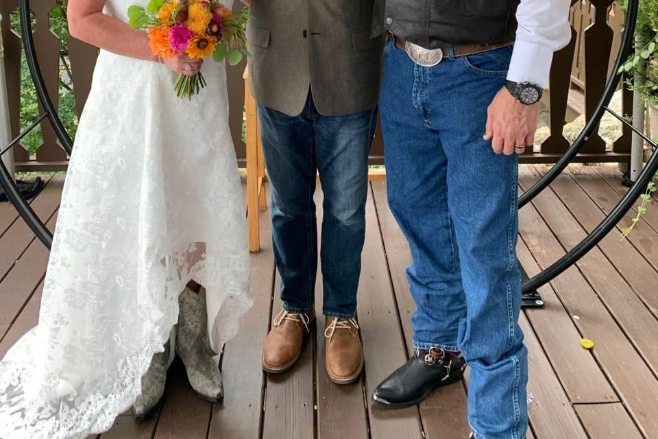 An country mountaintop wedding