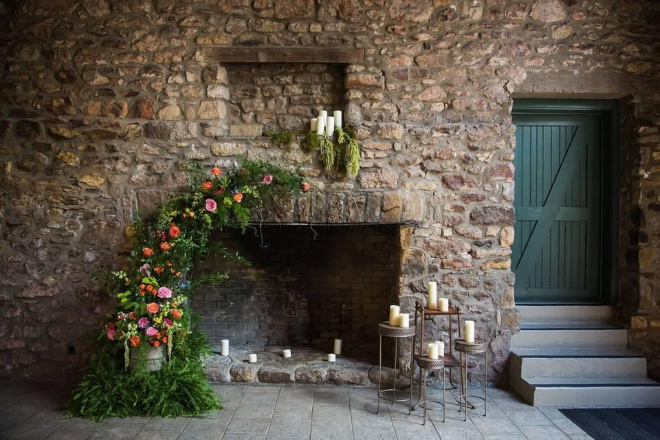 Stone Barn fireplace