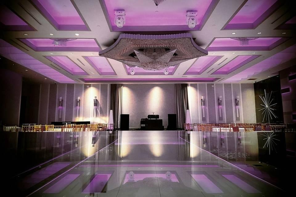 Violet LED lighting over stage