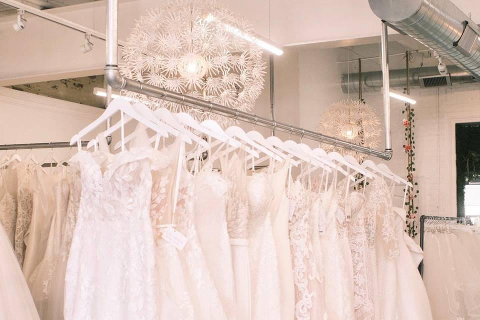 Wedding gowns displayed