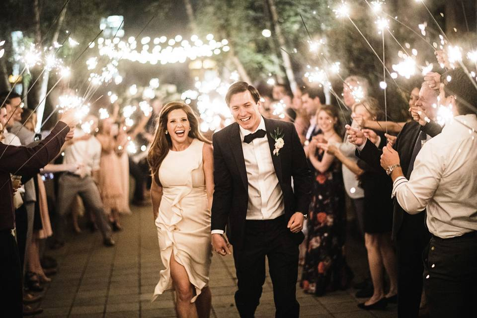 Sparklers in Courtyard