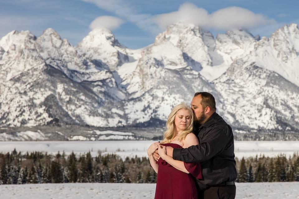 Snowy Engagement Grand Tetons