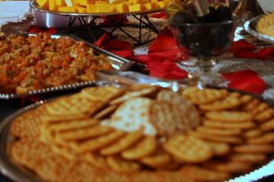 Spread with a plethora of food