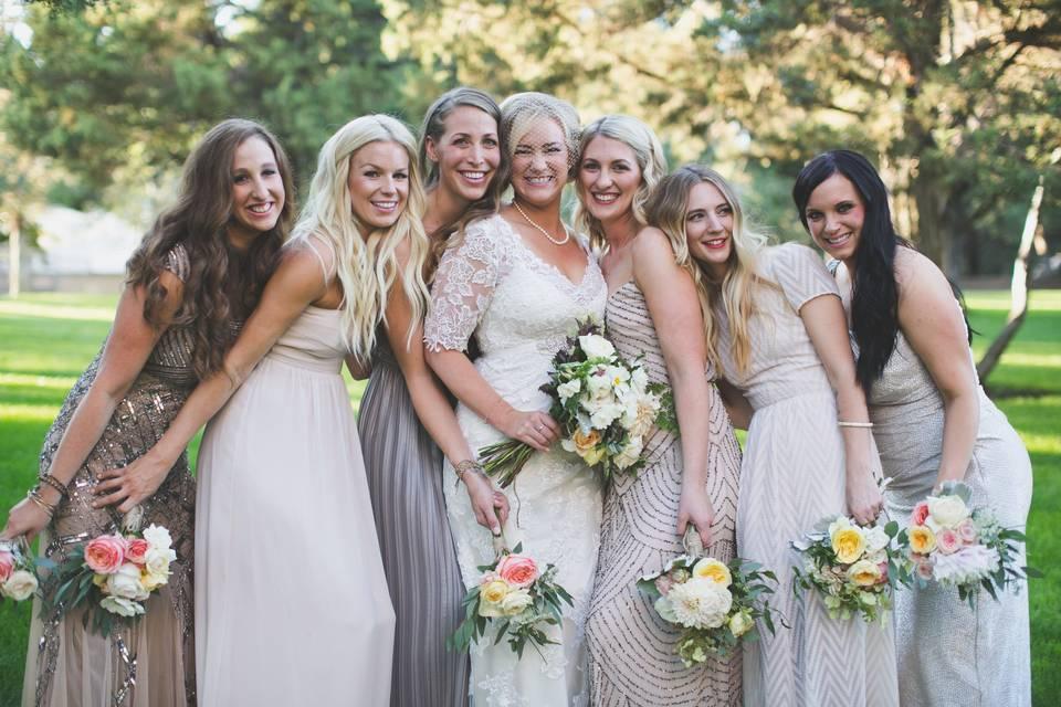 Golf course bridesmaid picture