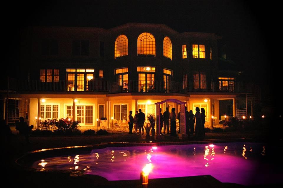 Pool lights after dark
