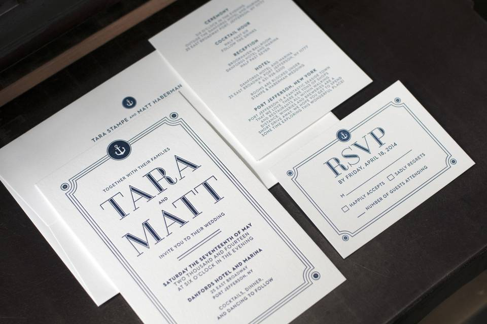 Letterpress nautical-themed wedding suite printed on Cranes #220 (invitations) and #110 (other pieces).