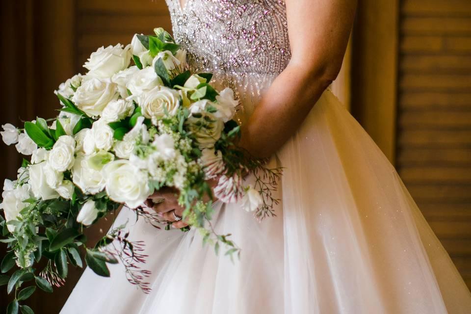 White garden bridal bouquet