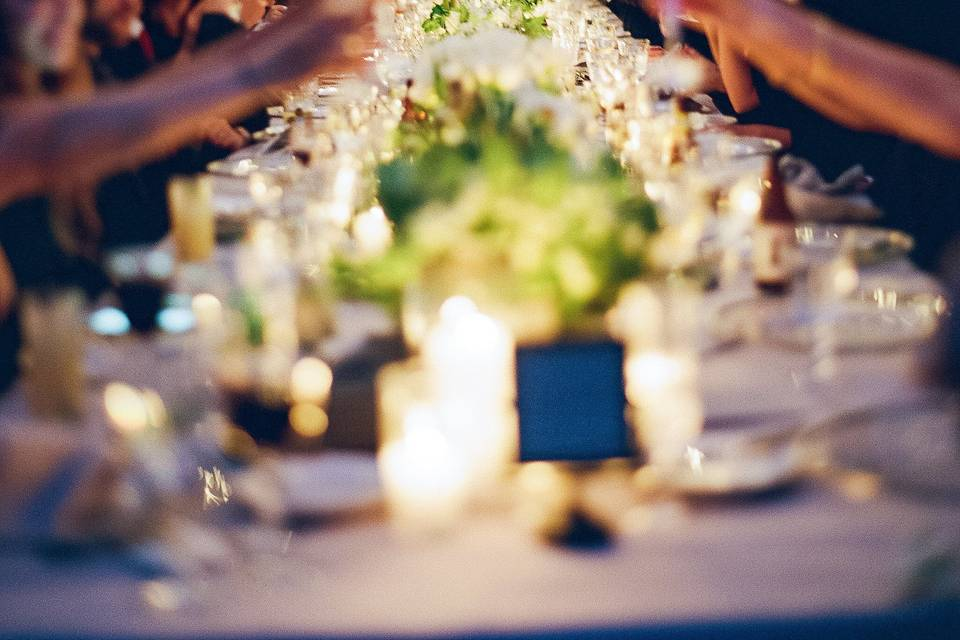 Hanging lights over the reception table