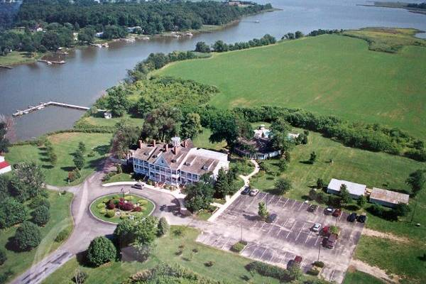 Aerial shot of the stunning venue