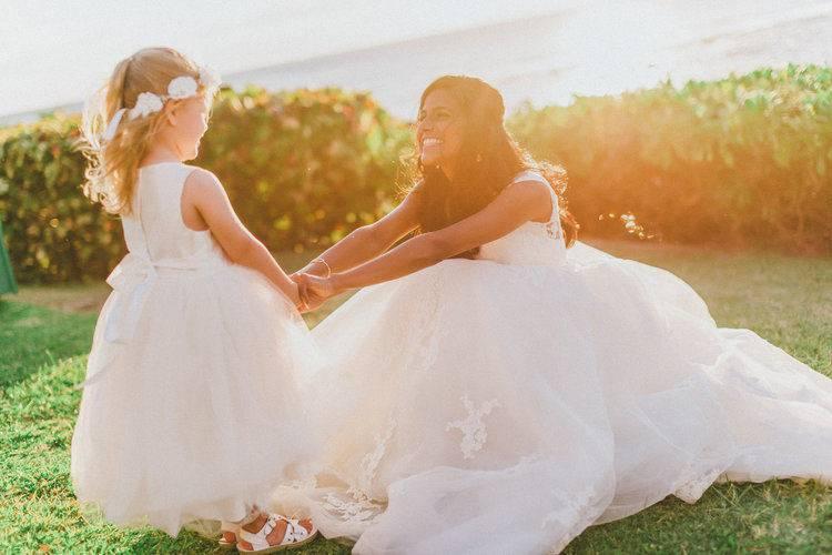 Bride and junior bridesmaid