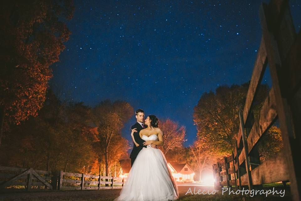 Newlyweds in the evening