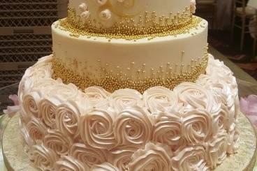 Wedding cake with rose design