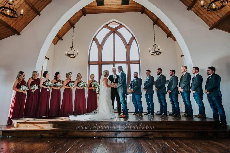 Indoor newlyweds