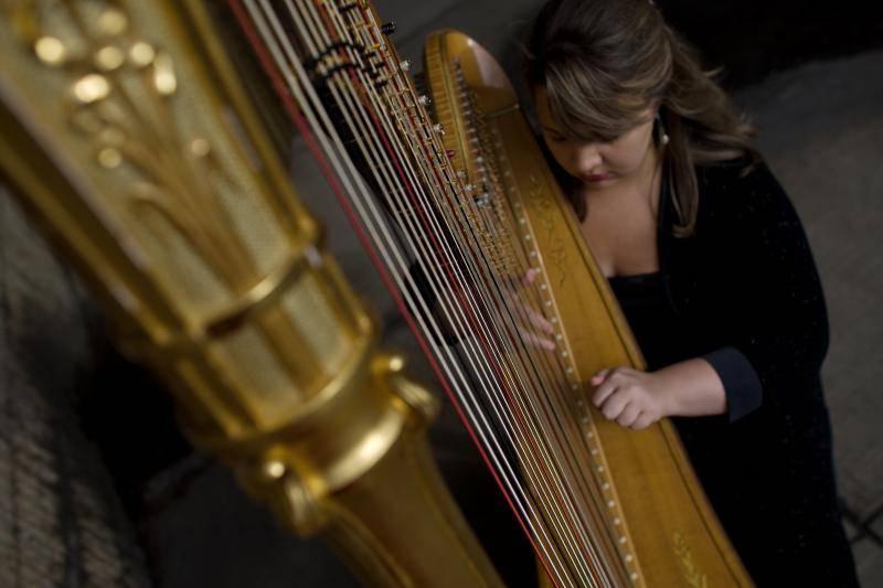 Harpist playing