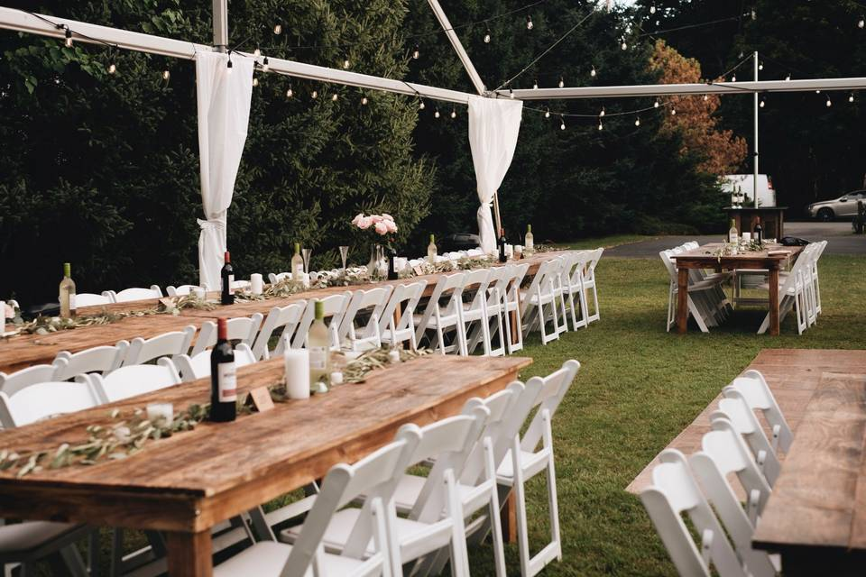 Farm Tables And Resin Chairs