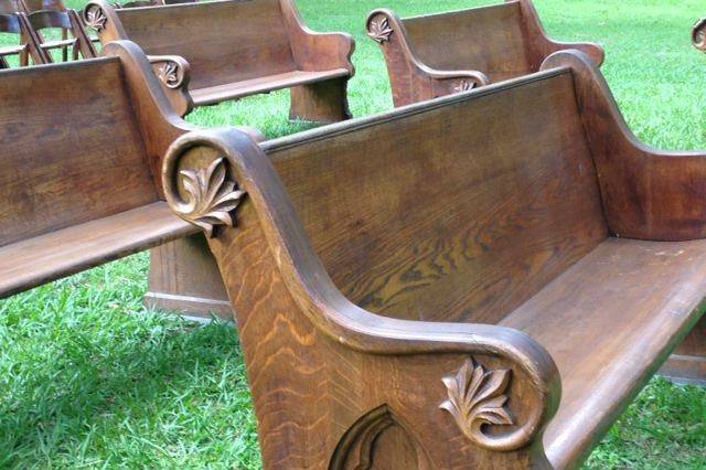 Benches at the wedding