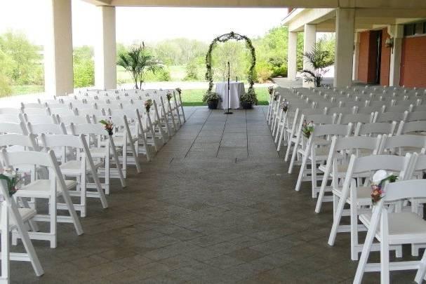 Terrace wedding aisle